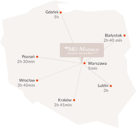 Location of Mazurkas Hotel**** in Poland